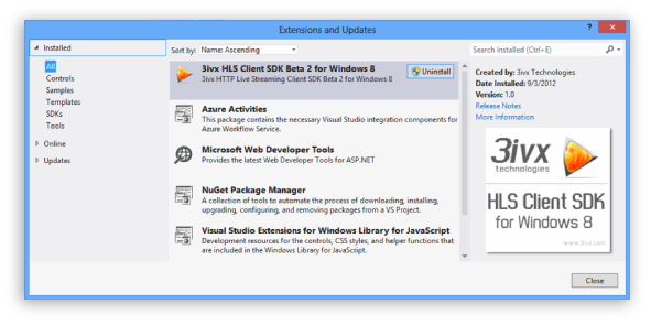 3ivx HLS Client SDK Screenshot